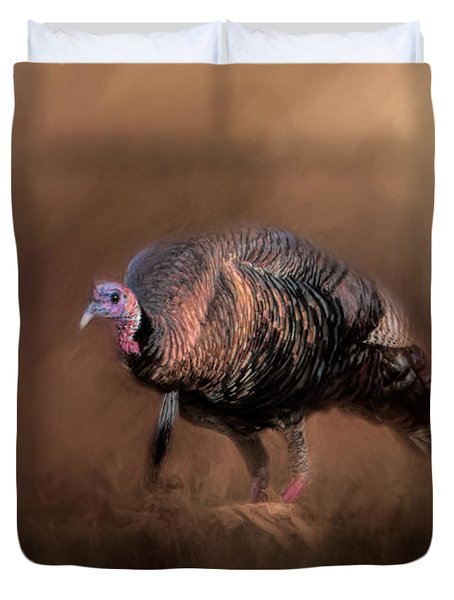 Wild Turkey In The Woods Duvet Cover by Jai Johnson