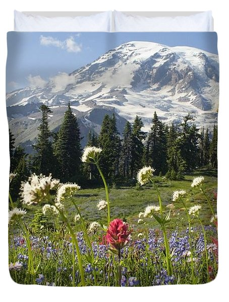 Wildflowers In Mount Rainier National Duvet Cover by Dan Sherwood