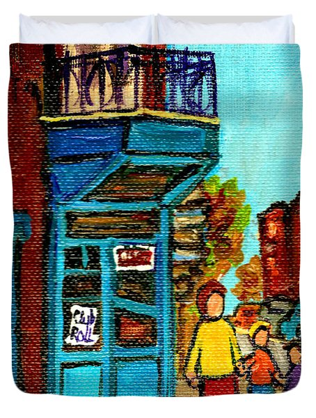 Wilensky's Counter With School Bus Montreal Street Scene Duvet Cover by Carole Spandau