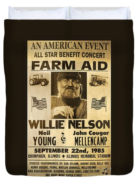 Willie Nelson Neil Young 1985 Farm Aid Poster Duvet Cover by John Stephens