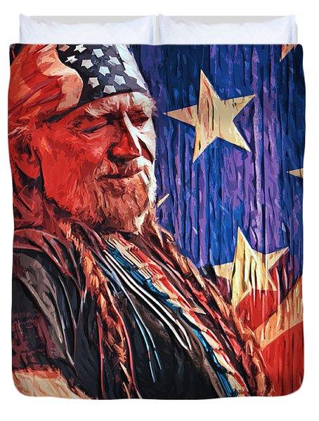 Willie Nelson Duvet Cover by Taylan Soyturk