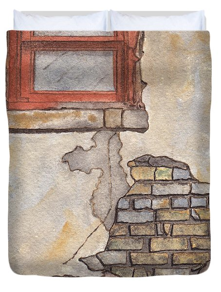 Window With Crumbling Plaster Duvet Cover by Ken Powers