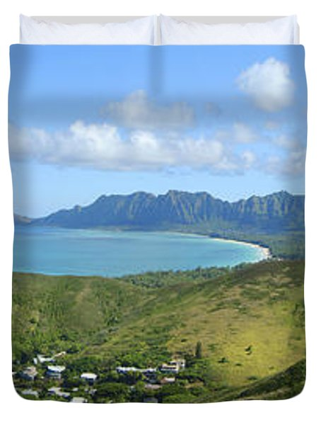 Windward Oahu Panorama III Duvet Cover by David Cornwell/First Light Pictures, Inc - Printscapes