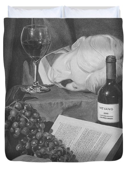 Wine And A Book Duvet Cover by Michael Malta