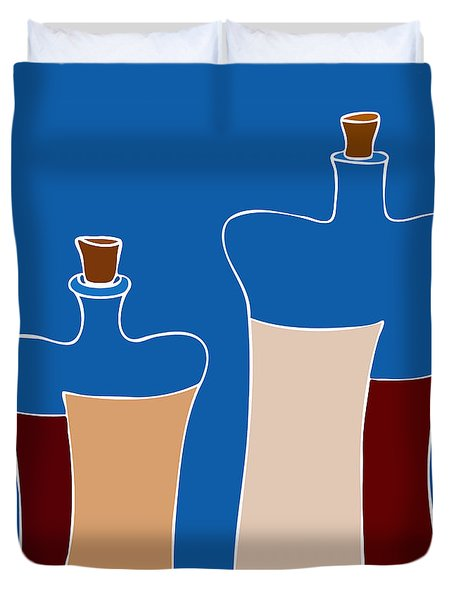 Wine Bottles Duvet Cover by Frank Tschakert