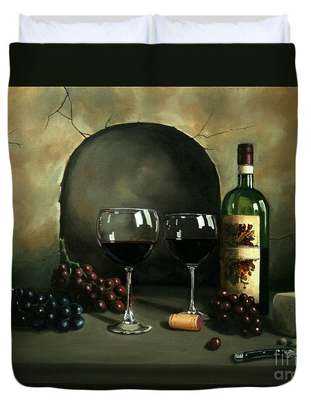 Wine For Two Duvet Cover by Paul Walsh