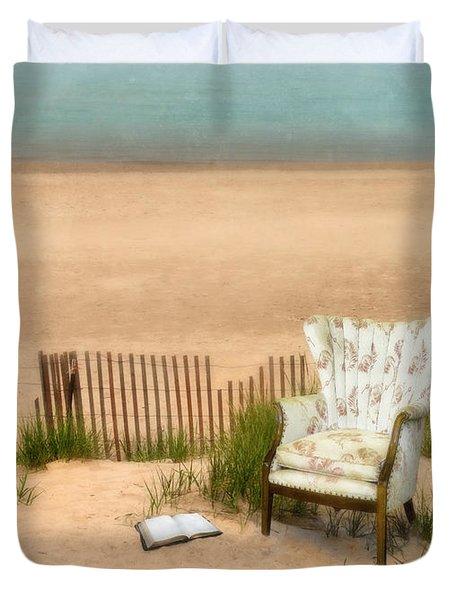 Wingback Chair At The Beach Duvet Cover by Jill Battaglia