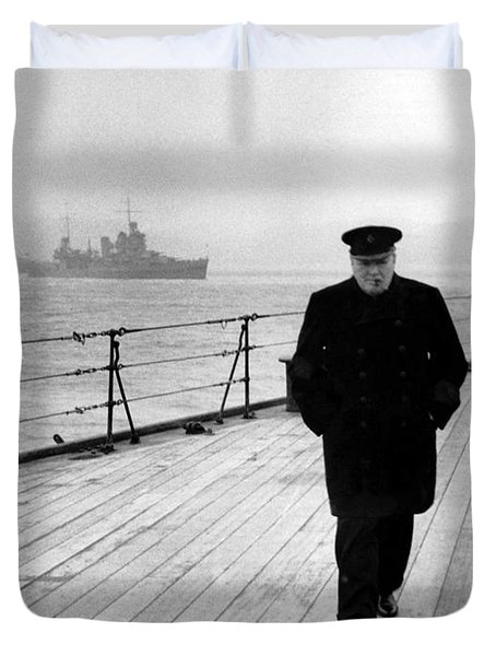 Winston Churchill At Sea Duvet Cover by War Is Hell Store