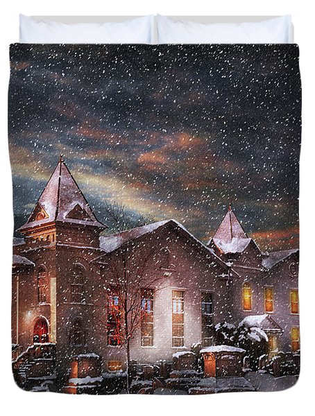 Winter - Clinton NJ - Silent Night  Duvet Cover by Mike Savad