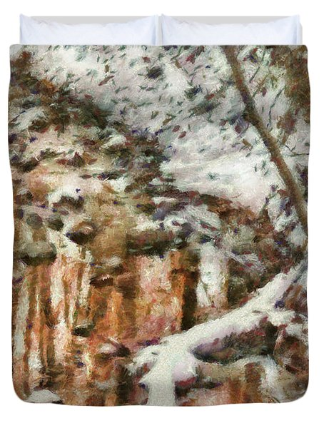 Winter - Natures Harmony Painted Duvet Cover by Mike Savad