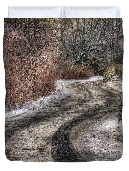 Winter - Road - The Hidden Road Duvet Cover by Mike Savad