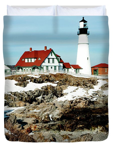 Winter At Portland Head Duvet Cover by Greg Fortier