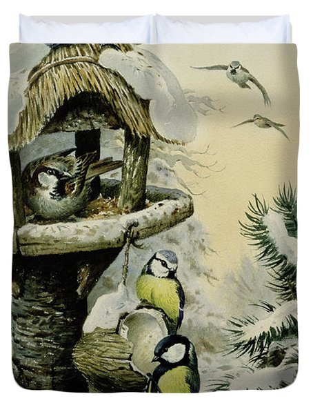 Winter Bird Table With Blue Tits Duvet Cover by Carl Donner