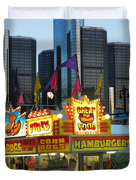 Winter Blast in Detroit Duvet Cover by Michael Peychich
