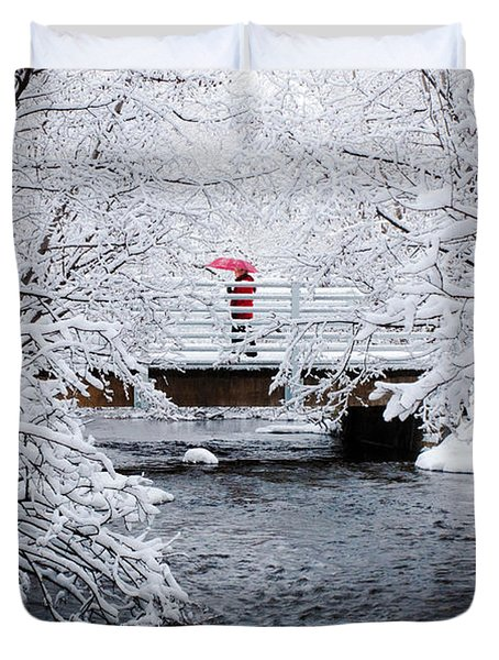 Winter Crossing Duvet Cover by Ron Day