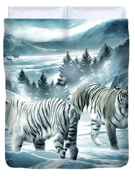 Winter Deuces Duvet Cover by Lourry Legarde