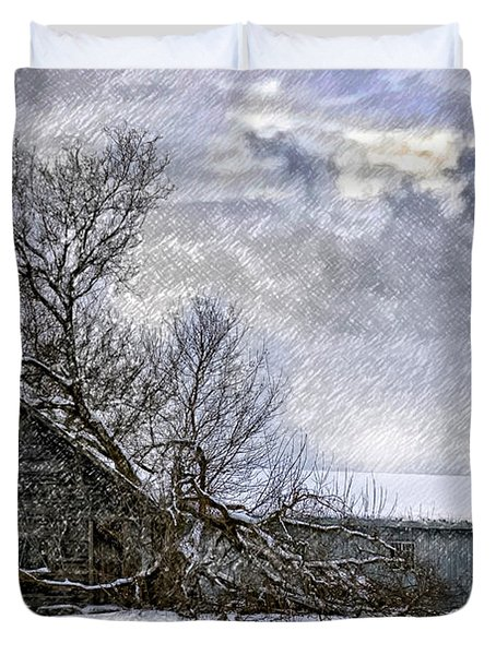 Winter Farm Duvet Cover by Steve Harrington