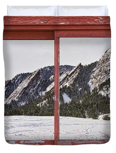 Winter Flatirons Boulder Colorado Red barn Picture Window Frame  Duvet Cover by James BO  Insogna