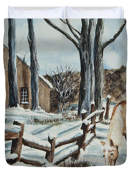 Winter Grazing  Duvet Cover by Charlotte Blanchard