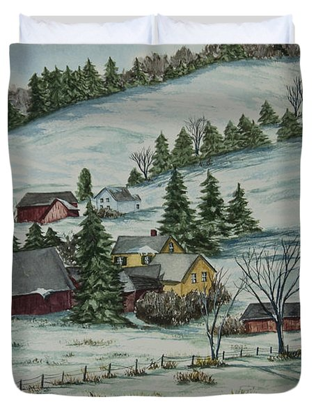 Winter In East Chatham Vermont Duvet Cover by Charlotte Blanchard