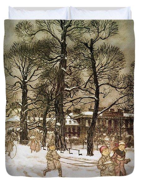 Winter In Kensington Gardens Duvet Cover by Arthur Rackham