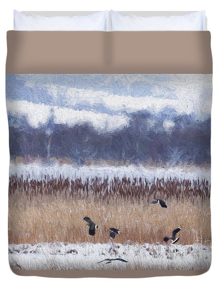 Winter Lapwings Duvet Cover by Liz Leyden