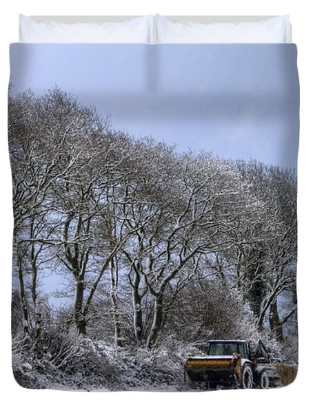 Winter Morning On The Farm Duvet Cover by Sophie De Roumanie