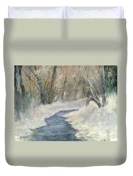 Winter On Stormcreek Duvet Cover by Gail Kirtz