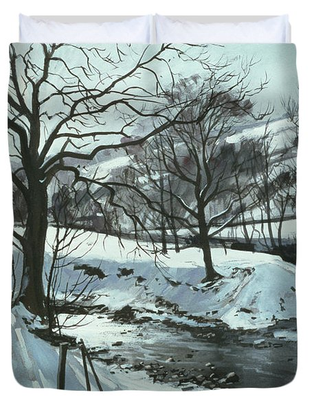 Winter River Duvet Cover by John Cooke