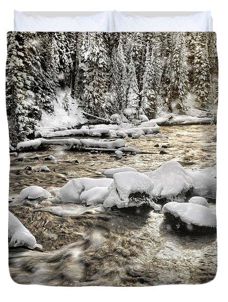 Winter River Duvet Cover by Leland D Howard
