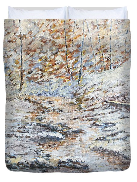 Winter River Duvet Cover by Todd A Blanchard