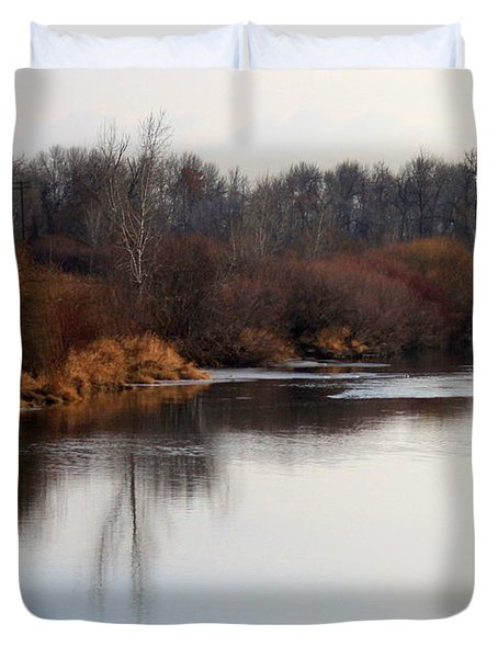 Winter Riverbank Duvet Cover by Carol Groenen