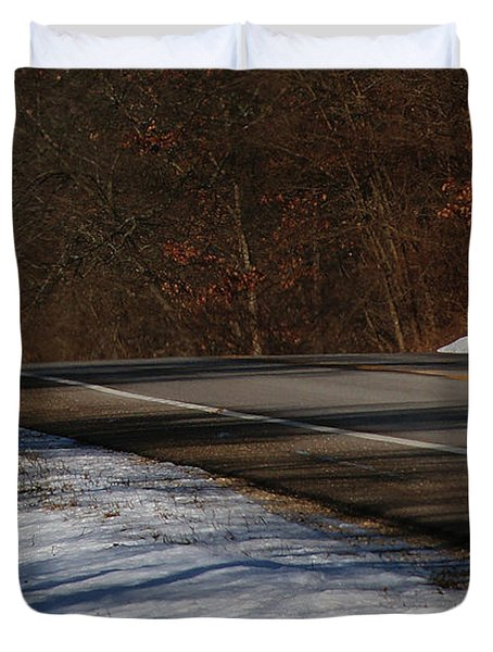 Winter Run Duvet Cover by Linda Knorr Shafer