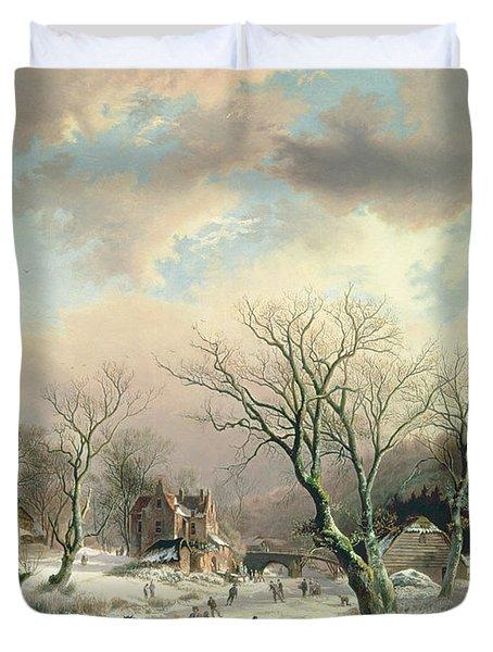 Winter Scene   Duvet Cover by Johannes Petrus van Velzen