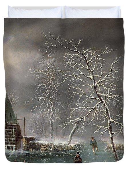 Winter Scene Duvet Cover by Louis Claude Mallebranche
