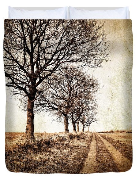 Winter Track With Trees Duvet Cover by Meirion Matthias