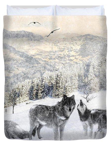 Winter Wolves Duvet Cover by Lourry Legarde