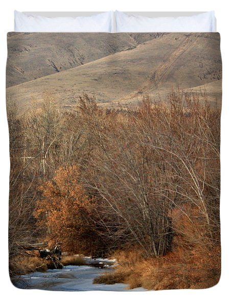 Winter Yakima River With Hills And Orchard Duvet Cover by Carol Groenen