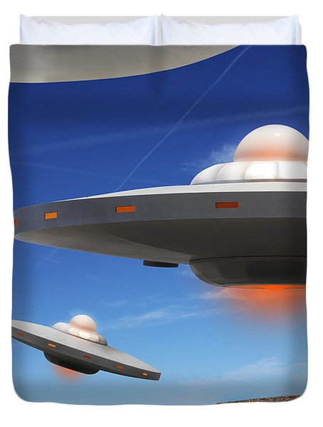 WIP You Never Know What You will See On Route 66 Duvet Cover by Mike McGlothlen