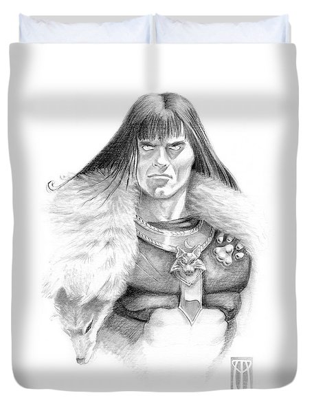 Wolf Barbarian Duvet Cover by Melissa A Benson