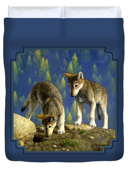 Wolf Pups - Anybody Home Duvet Cover by Crista Forest