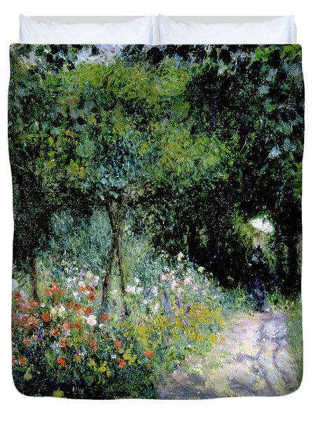 Woman In A Garden Duvet Cover by Pierre Auguste Renoir
