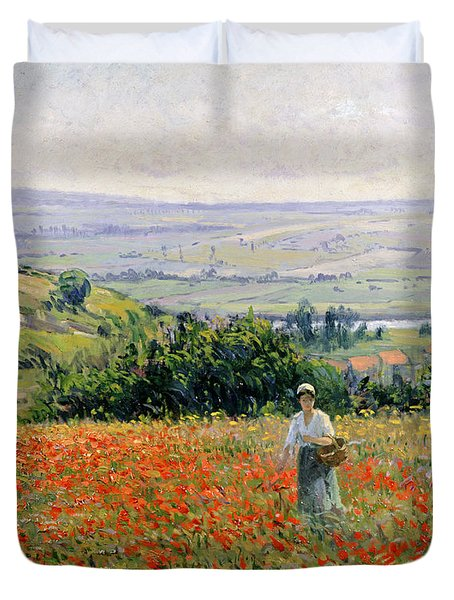 Woman In A Poppy Field Duvet Cover by Leon Giran Max