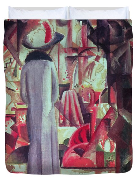 Woman In Front Of A Large Illuminated Window Duvet Cover by August Macke