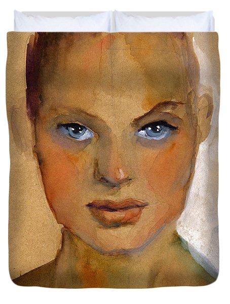 Woman Portrait Sketch Duvet Cover by Svetlana Novikova