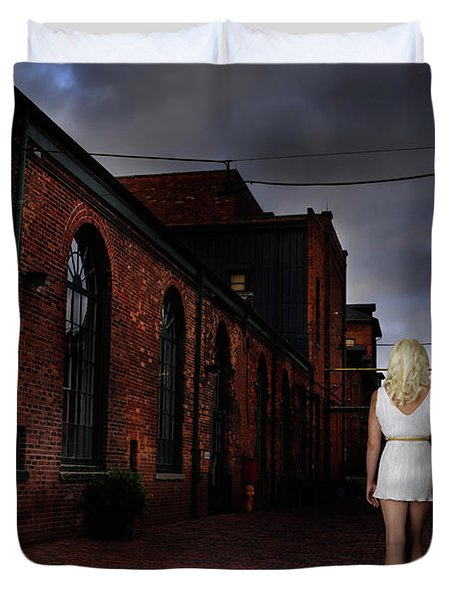 Woman Walking Away With A Child Duvet Cover by Oleksiy Maksymenko