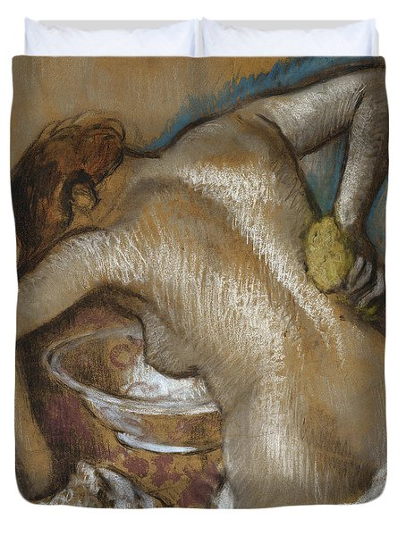 Woman Washing Her Back With A Sponge Duvet Cover by Edgar Degas