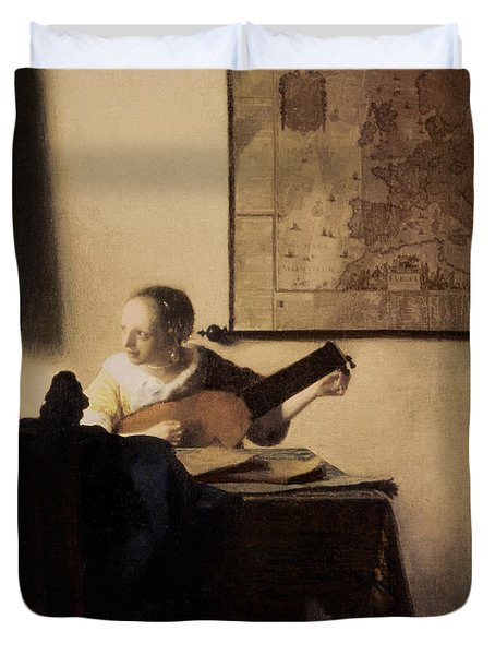 Woman With A Lute Duvet Cover by Jan Vermeer