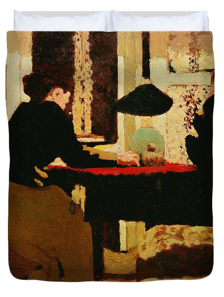 Women By Lamplight Duvet Cover by vVuillard