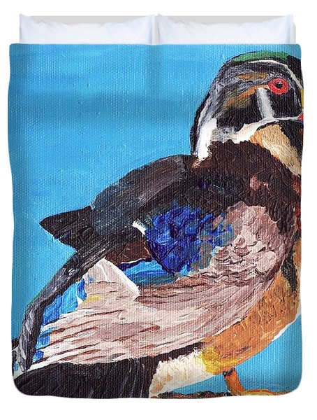 Duvet Cover featuring the painting Wood Duck by Rodney Campbell